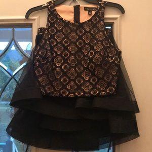 2 pc black lace homecoming dress